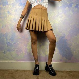 Khaki pleated tennis skirt